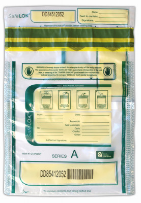 Clear SafeLok Deposit Bag with Pocket, 9'' X 12''  | BAG-28
