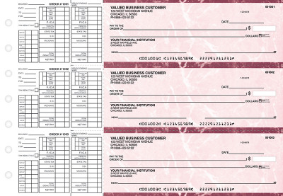 Burgundy Marble Payroll Business Checks | BU3-BMA01-PAY