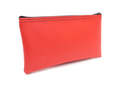 "Red Zipper Bank Bag, 5.5"" X 10.5"" 