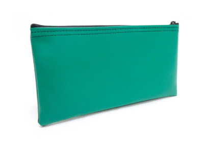 "Green Zipper Bank Bag, 5.5"" X 10.5"" 
