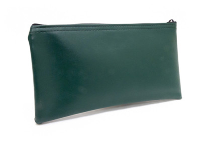 "Forest Green Zipper Bank Bag, 5.5"" X 10.5"" 