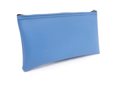 "Light Blue Zipper Bank Bag, 5.5"" X 10.5"" 