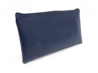 "Navy Blue Zipper Bank Bag, 5.5"" X 10.5"" 