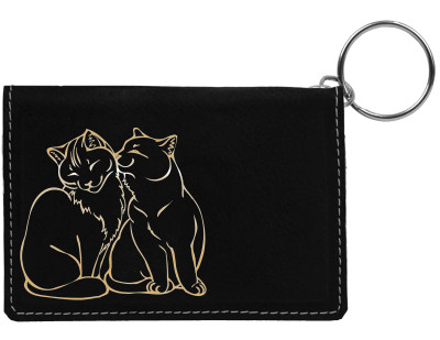 Purrfect Love Engraved Leather Keychain Wallet | KLE-00001