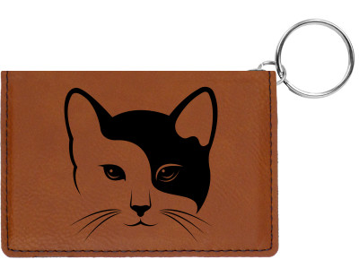 Yin Yang Kitty Engraved Leather Keychain Wallet | KLE-00004