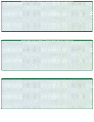 Blue Green Blank 3 Per Page Laser Checks | L3C-BLA-BG