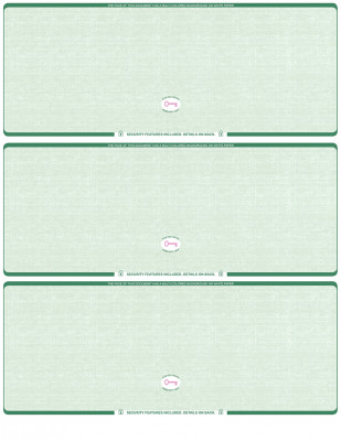 Green Safety Blank High Security 3 Per Page Laser Checks | L3CHS-BLA-GS