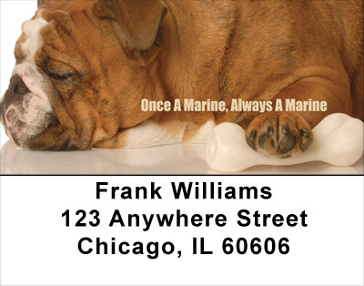 Bulldogs With Marine Attitude No 2 Address Labels | LBMIL-33