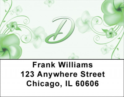 Floral Monogram D Address Labels | LBMONO-02D