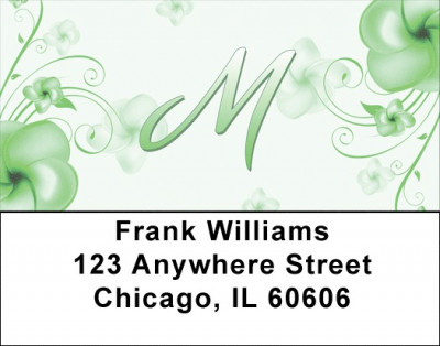 Floral Monogram M Address Labels | LBMONO-02M
