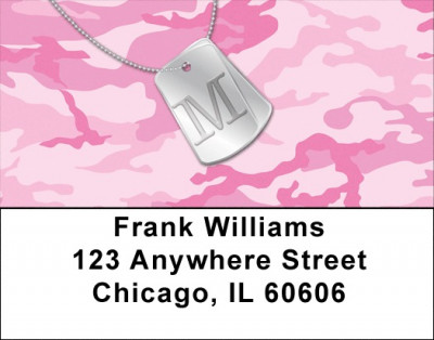 Dog Tag Monogram M Address Labels | LBMONO-04M