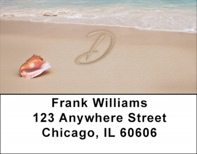 Sand Written Monogram D Address Labels | LBMONO-07D