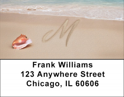 Sand Written Monogram M Address Labels | LBMONO-07M