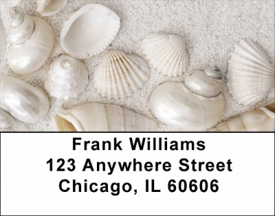 Pearly White Sea Shells Labels | LBNAT-75