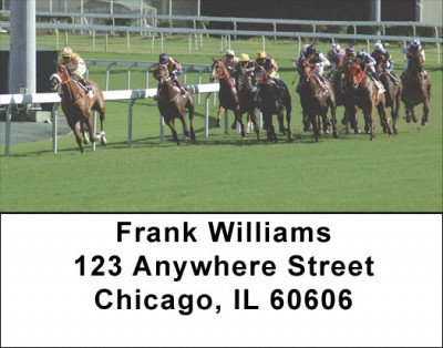 At the Track Horse Racing Address Labels | LBSPO-A8