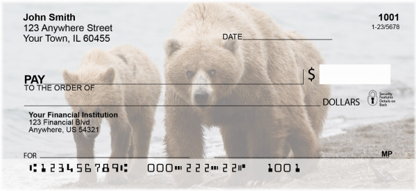 Grizzly Bears in the Wild Personal Checks | ANI-B2