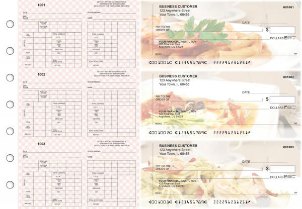 Italian Cuisine Multi-Purpose Counter Signature Business Checks | BU3-7CDS05-MPC