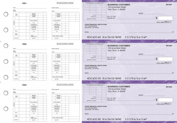 Purple Marble Multi-Purpose Corner Voucher Business Checks | BU3-7UMA01-MPV