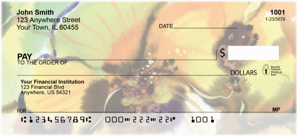Golden Watercolor Orchids Personal Checks
