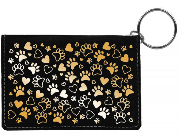 Paw Prints Engraved Leather Keychain Wallet | KLE-00008