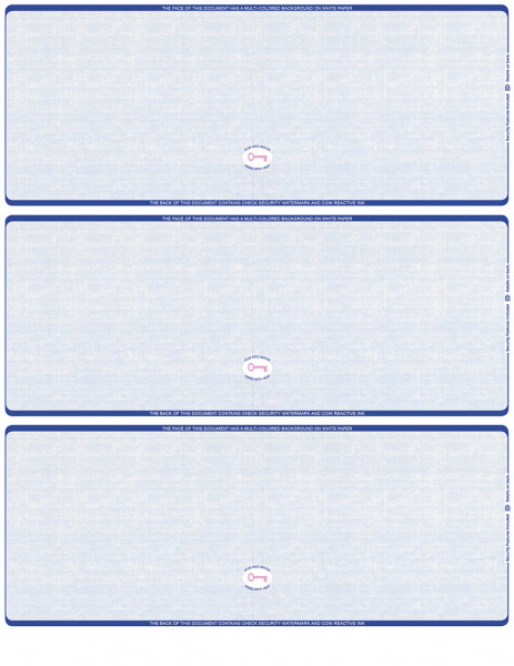 Blue Safety Blank High Security 3 Per Page Laser Checks | L3CHS-BLA-BS