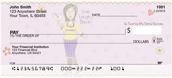 Cocktails Personal Checks by My Friend Ronnie | RON-01