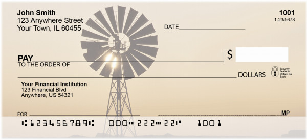 Windmills On Western Plains Personal Checks | SCE-51