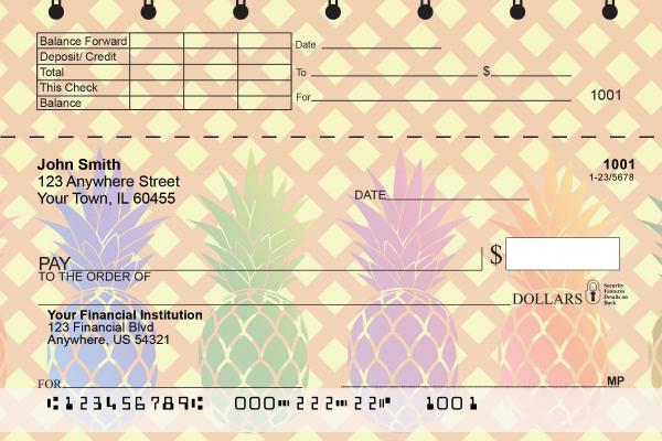 Pineapples Top Stub Personal Checks