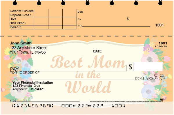Mother's Day Top Stub Personal Checks