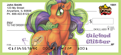 Purple and Green Mix - My Little Demon Personal Checks