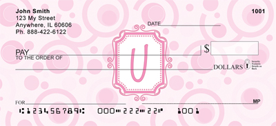 Bubbly Monogram U Personal Checks