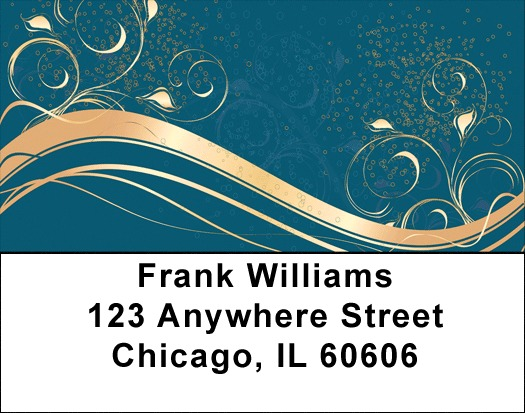 Abstract Black Gold Address Labels 2