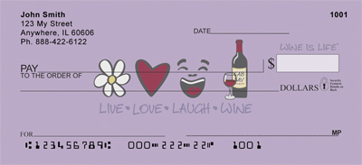 Live, Love, Laugh, Wine Is Life Personal Checks