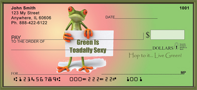 Hop To It Frogs... Live Green Personal Checks