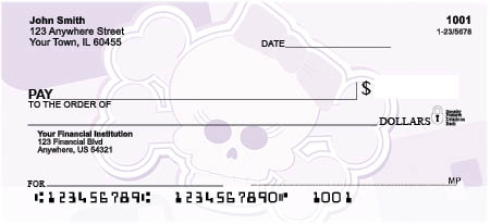 Girly Skulls Top Tear Personal Checks