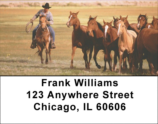 Horse on the Prarie Roundup Address Labels