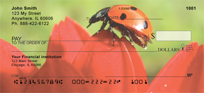 Ladybugs on Flowers Personal Checks