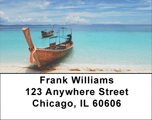 Scenic Tropical Boats Address Labels