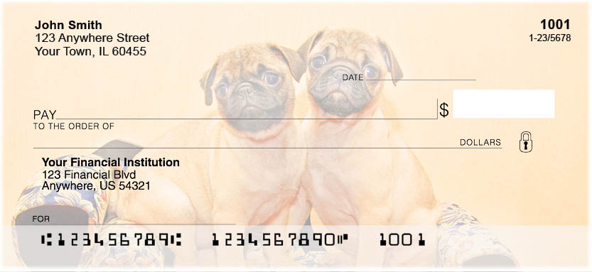 Pug Portraits Personal Checks