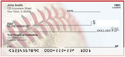 Red & White Baseball Team Personal Checks