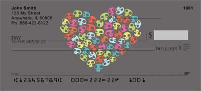 Colorful Skull of Hearts Personal Checks