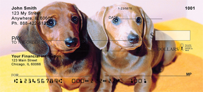 Pair of Dachshund Puppies Personal Checks