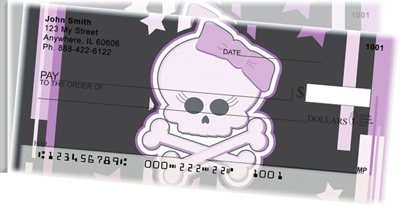 Girly Skulls Side Tear Personal Checks