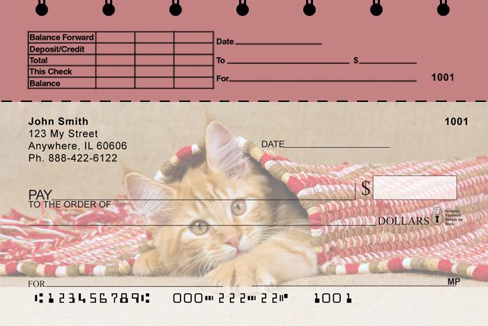 Cute Kittens Top Stub Personal Checks