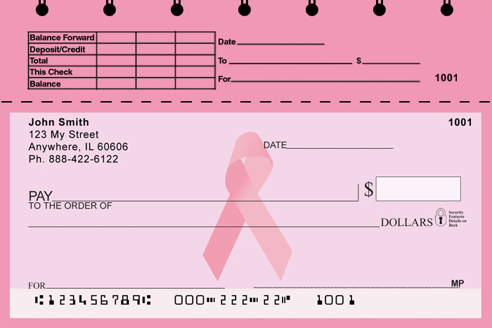 Pink Ribbon Top Stub Personal Checks