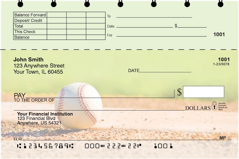 Baseball Top Stub Personal Checks