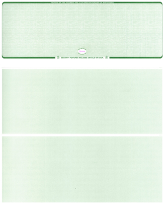 Green Safety Blank Stock High Security Top Voucher Computer Check