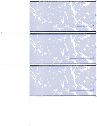 Blue Marble Blank Personal Size 3 Per Page Laser Checks