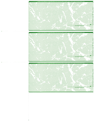 Green Marble Blank Personal Size 3 Per Page Laser Checks