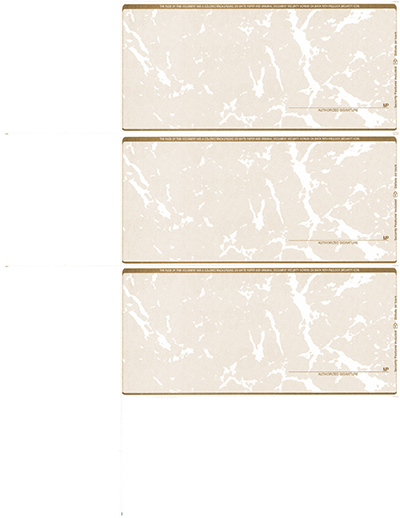 Tan Marble Blank Personal Size 3 Per Page Laser Checks